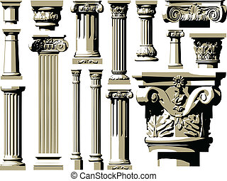 Vector set of vintage ancient colum
