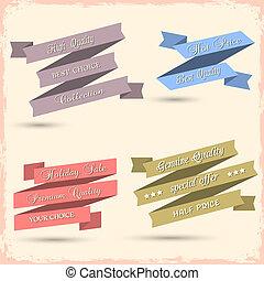Vector set of vintage ribbons for design