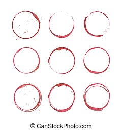 Vector set of Wine stain circles silhouette, splashes and spot isolated on white background. Watercolor hand drawing glass marks.