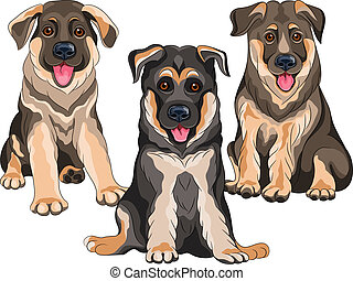 Vector set smiling puppies dog German shepherd