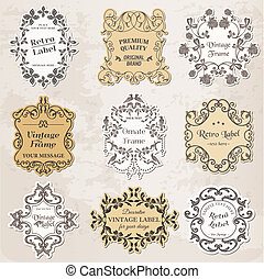 Vector Set: Vintage Frames, Calligraphic Design Elements and Page Decoration - in vector