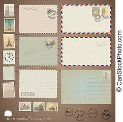 Vector set: Vintage postcard designs, envelopes and stamps.