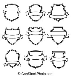 Vector shield with ribbon collection set isolated