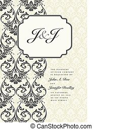 Vector ornate frame with sample text. Perfect as invitation or announcement. Background pattern is included as seamless swatch. All pieces are separate. Easy to change colors and edit.
