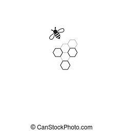 Vector sign bee and honeycomb