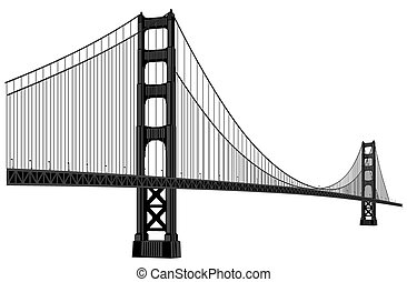 vector silhouette of golden gate bridge in black color
