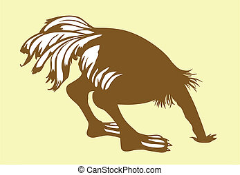 vector silhouette ostrich on yellow background