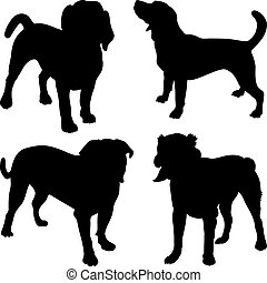 set of silhouettes of dogs Beagle, Mastiff, Central Asian Shepherd breed in the rack