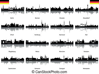Vector Silhouettes of Germany isolated