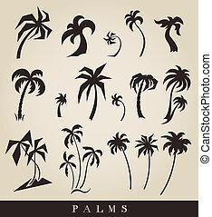 vector silhouettes of palm trees