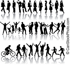 Vector silhouettes of people