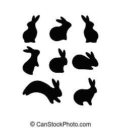 Vector Simple Easter Rabbit icon Set. Black Bunny, Hare Set. Seasonal postcard, tag, sticker. Livestock animal logotype. Flat style