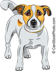 color sketch of the cartoon dog Jack Russell Terrier breed