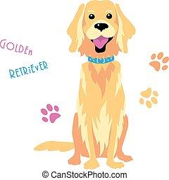 Vector sketch funny Golden Retriever dog sitting