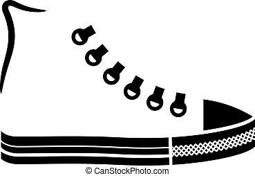vector sneaker canvas shoe black icon