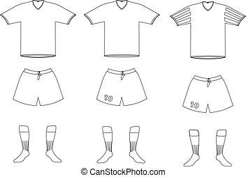 vector soccer player uniform - contour illustration