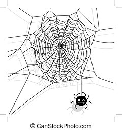Vector spider web and small spider on white background. Cartoon illustration.
