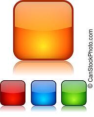 Vector square glassy buttons set illustration