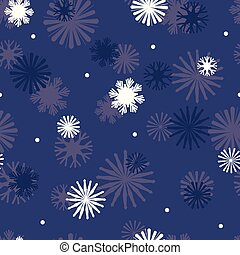 Vector Star Snowflakes on Navy Blue seamless pattern background.