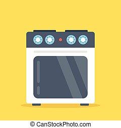 Vector stove. White kitchen oven