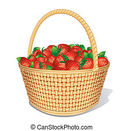 Ripe Strawberries in Basket. Cartoon Vector Isolated on White