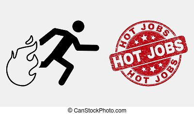 Vector Stroke Person Running Away from Fire Icon and Distress Hot Jobs Seal