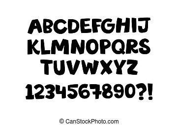 Vector stylized cartoon English Alphabet. Hand drawn typeface