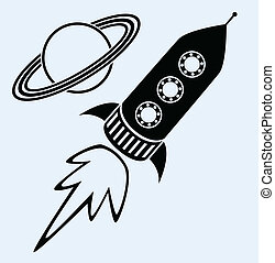 vector stylized retro rocket ship and planet saturn symbols