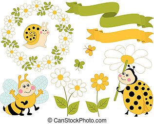 Vector Summer Set with Cute Cartoon Insects and Flowers