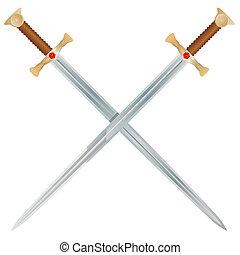 Steel swords on a white background. Vector Illustration
