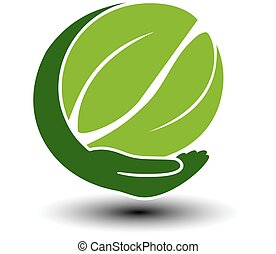 Vector symbol of green energy. Circular natural element created leaves with hand. Nature icon.