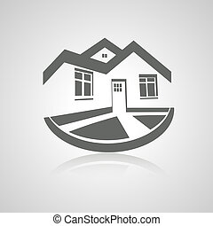 Vector symbol of home, house icon, realty silhouette, real estate modern logo - illustration