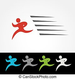 Vector symbol rate of delivery package or speed icon of download and upload, silhouette of running man, runner