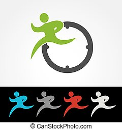 Vector symbol rate of delivery package or speed icon, silhouette of running man, runner with clock