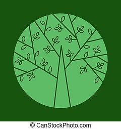 Vector tree logo in a trendy linear style.