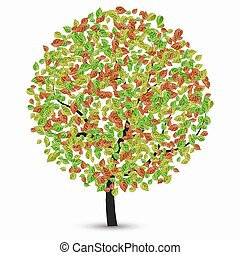 vector tree with leaves on a white