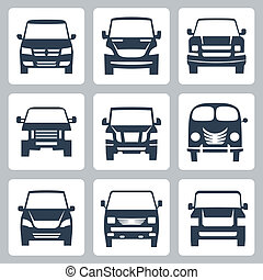 Vector vans (front view) icons set