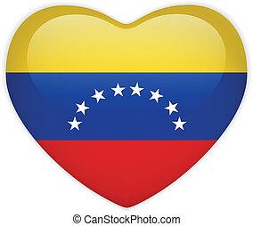 Vector - Venezuela Flag Heart Glossy Button