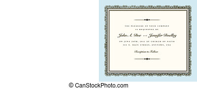 Vector Vintage Couture Wedding Invite Frame. Easy to edit. Perfect for invitations or announcements.