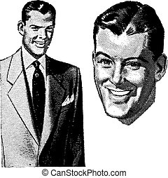 Vector Vintage Handsome Man Graphics. All graphics are seperated.
