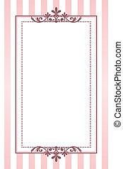 Vector vintage pink striped frame