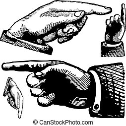 Vector Vintage Pointing Fingers. Set of illustrations.