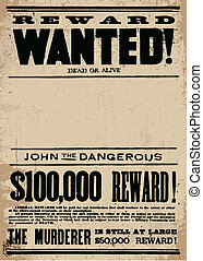Easy to edit! Clipart template of a vintage wanted poster template. All pieces are separated, including distressed overlays. Vector file is an EPS 10 file. Vector editing features are only available with the EPS file. Watermarks are removed from the image you get after purchasing.