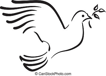 Vector white dove with branch
