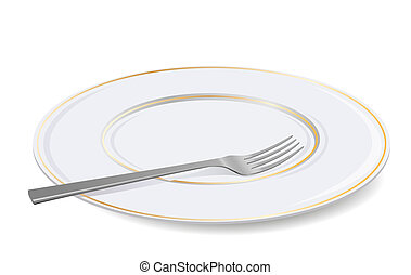 Simple white plate and fork drawn from an angle with shadow.