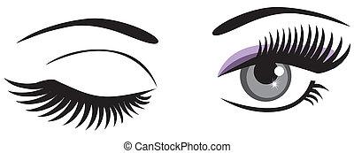 vector winking eyes