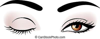 vector woman broun eyes illustration