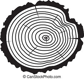 vector black and white wooden cut of a tree log with concentric rings and bark