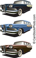 Vectorial icon set of American old-fashioned station wagons isolated on white backgrounds. Every car is in separate layers. File contains gradients and blends.