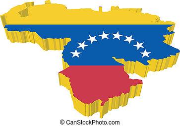 vectors 3D map of Venezuela on a white background